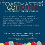 Toastmasters Got Talent Show - January 23, 2016 at CalTech, Pasadena, CA. 10am - 2pm