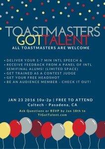 """Toastmasters Got Talent!"" Judge Panelist @ CalTech"